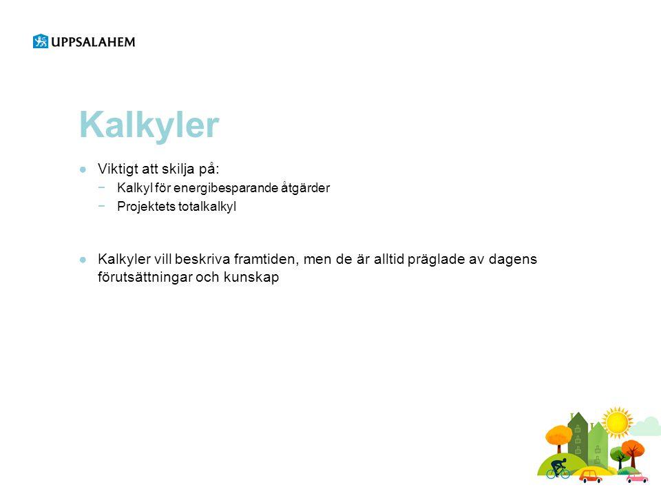 Kalkyler Viktigt att skilja på: