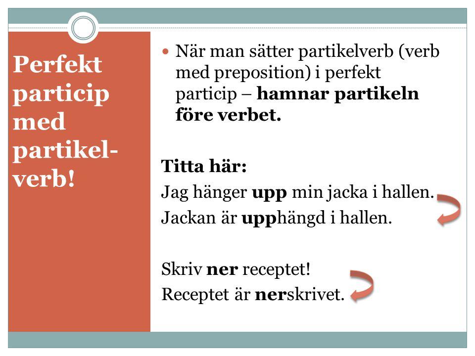 Perfekt particip med partikel- verb!
