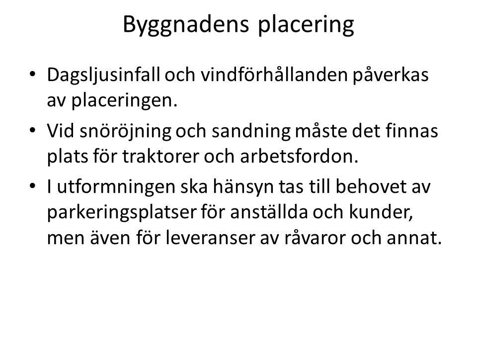 Byggnadens placering Dagsljusinfall och vindförhållanden påverkas av placeringen.