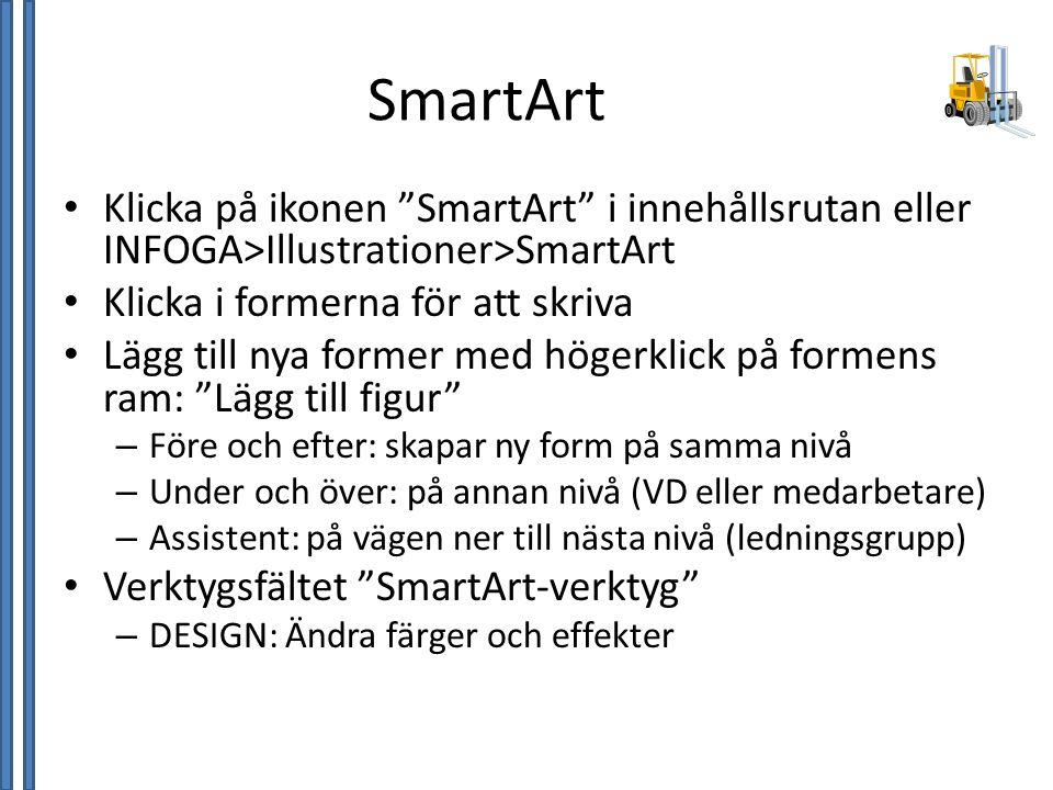 SmartArt Klicka på ikonen SmartArt i innehållsrutan eller INFOGA>Illustrationer>SmartArt. Klicka i formerna för att skriva.