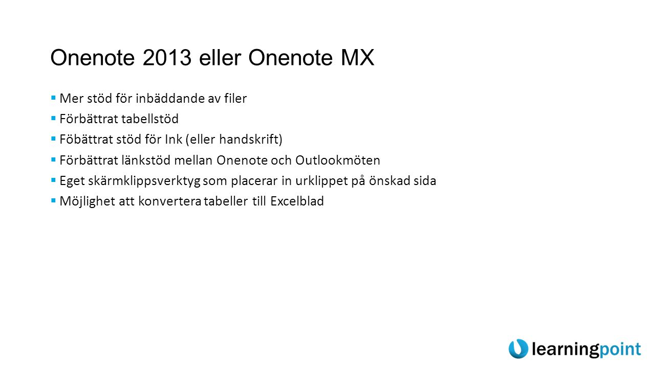 Onenote 2013 eller Onenote MX