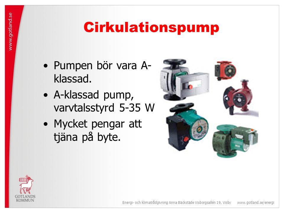 Cirkulationspump Pumpen bör vara A-klassad.