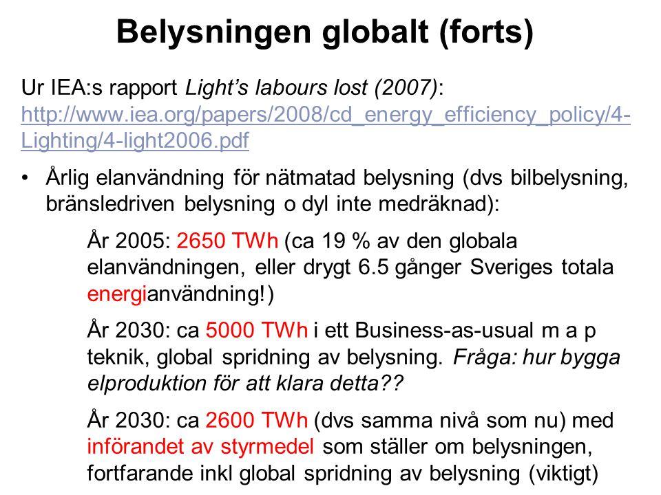Belysningen globalt (forts)
