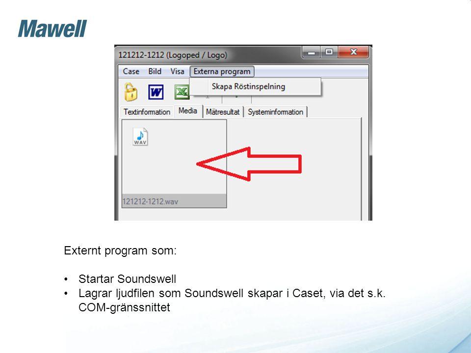 Externt program som: Startar Soundswell.