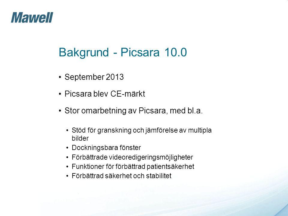 Bakgrund - Picsara 10.0 September 2013 Picsara blev CE-märkt
