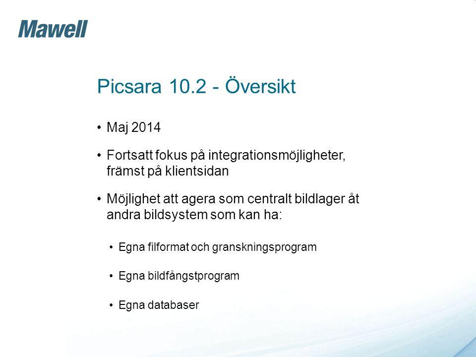 Picsara 10.2 - Översikt Maj 2014. Fortsatt fokus på integrationsmöjligheter, främst på klientsidan.