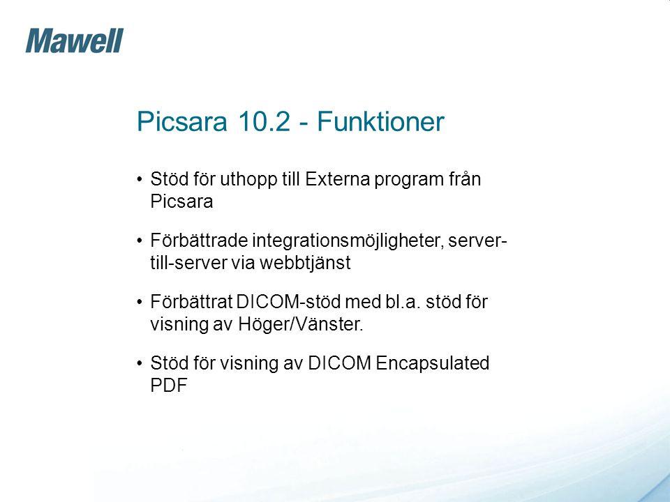 Picsara 10.2 - Funktioner Stöd för uthopp till Externa program från Picsara.