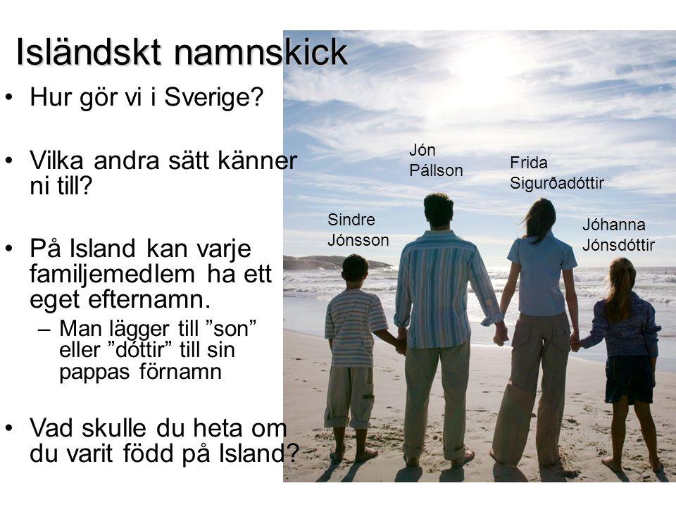 Isländskt namnskick Hur gör vi i Sverige