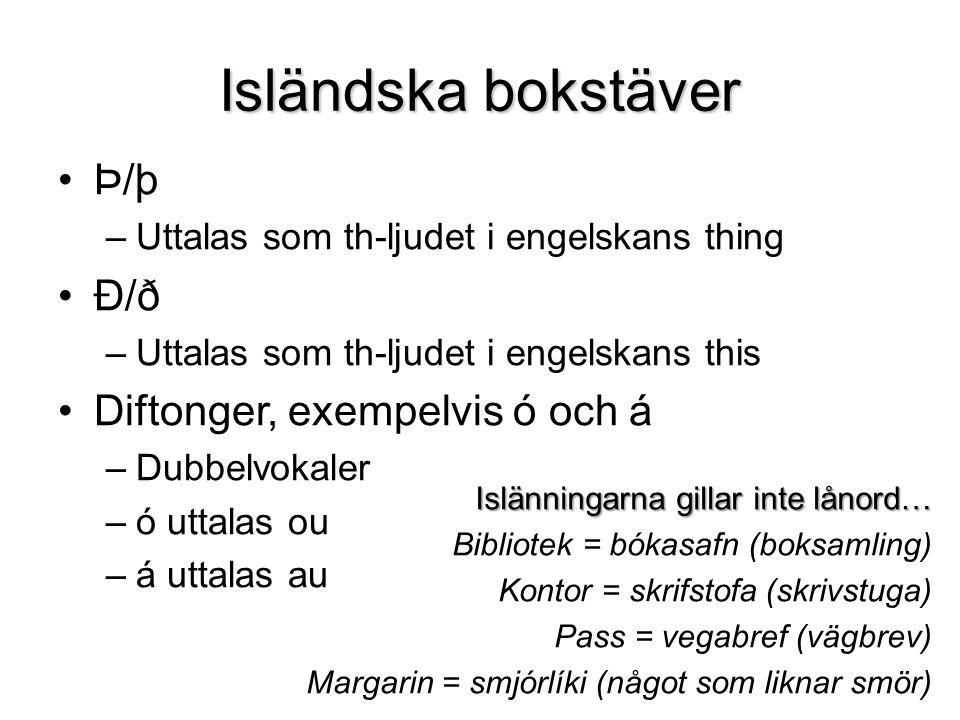 Isländska bokstäver Þ/þ Ð/ð Diftonger, exempelvis ó och á