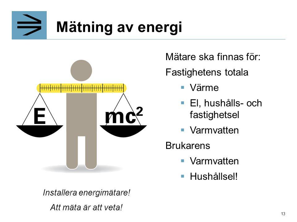 Installera energimätare!