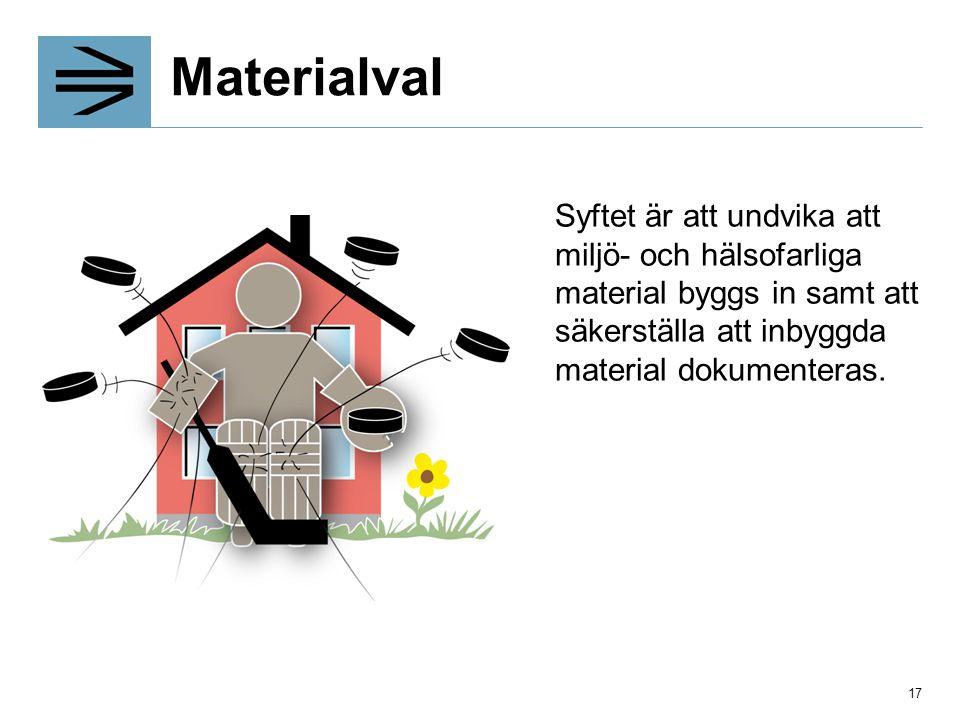 Materialval Syftet är att undvika att miljö- och hälsofarliga material byggs in samt att säkerställa att inbyggda material dokumenteras.