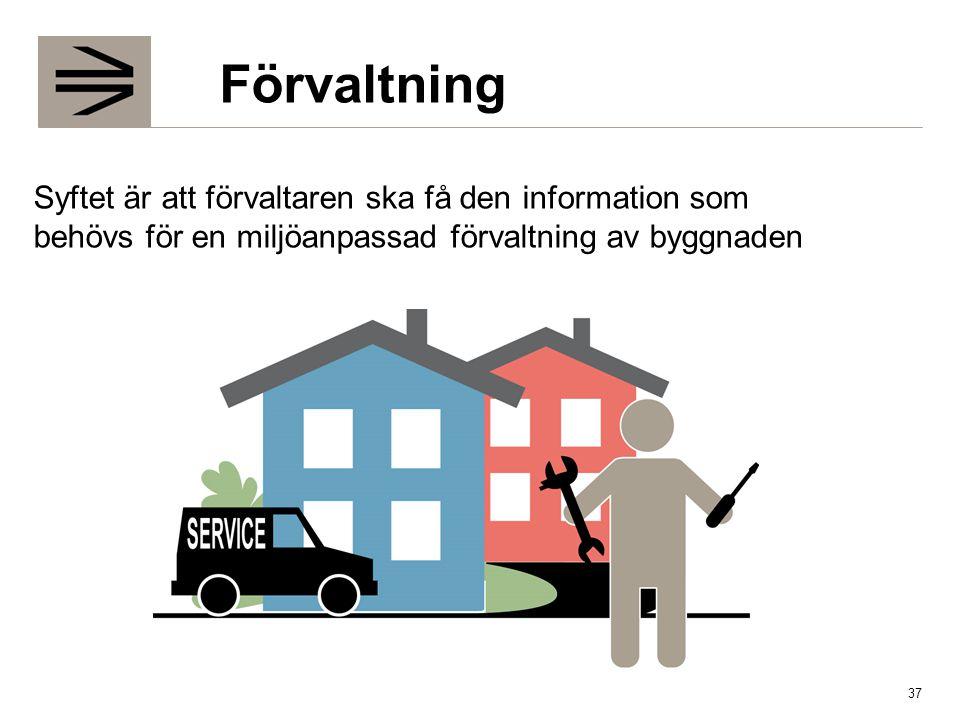 Förvaltning Syftet är att förvaltaren ska få den information som behövs för en miljöanpassad förvaltning av byggnaden.