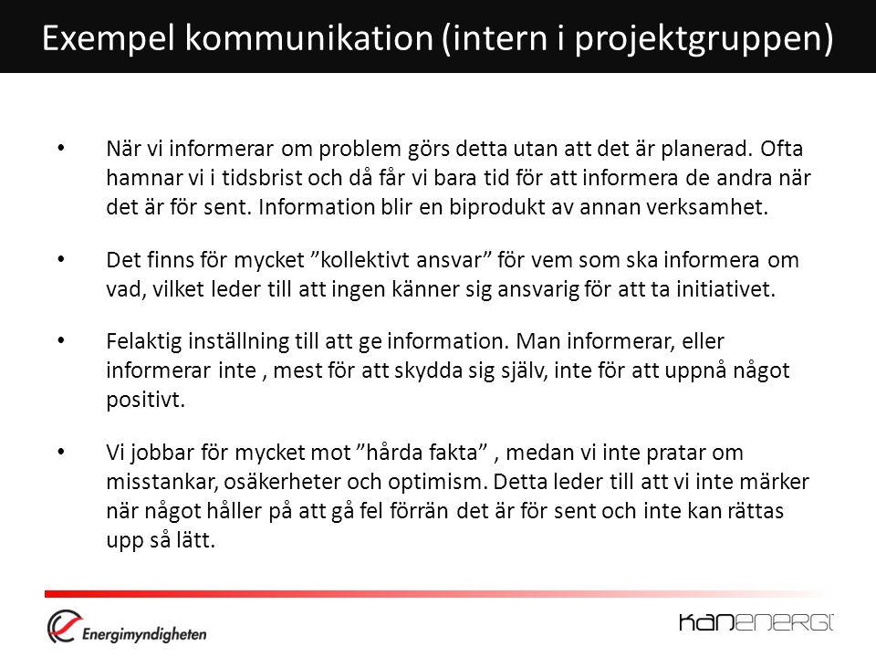 Exempel kommunikation (intern i projektgruppen)