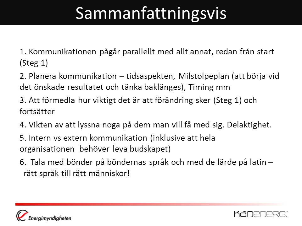 Sammanfattningsvis 1. Kommunikationen pågår parallellt med allt annat, redan från start (Steg 1)