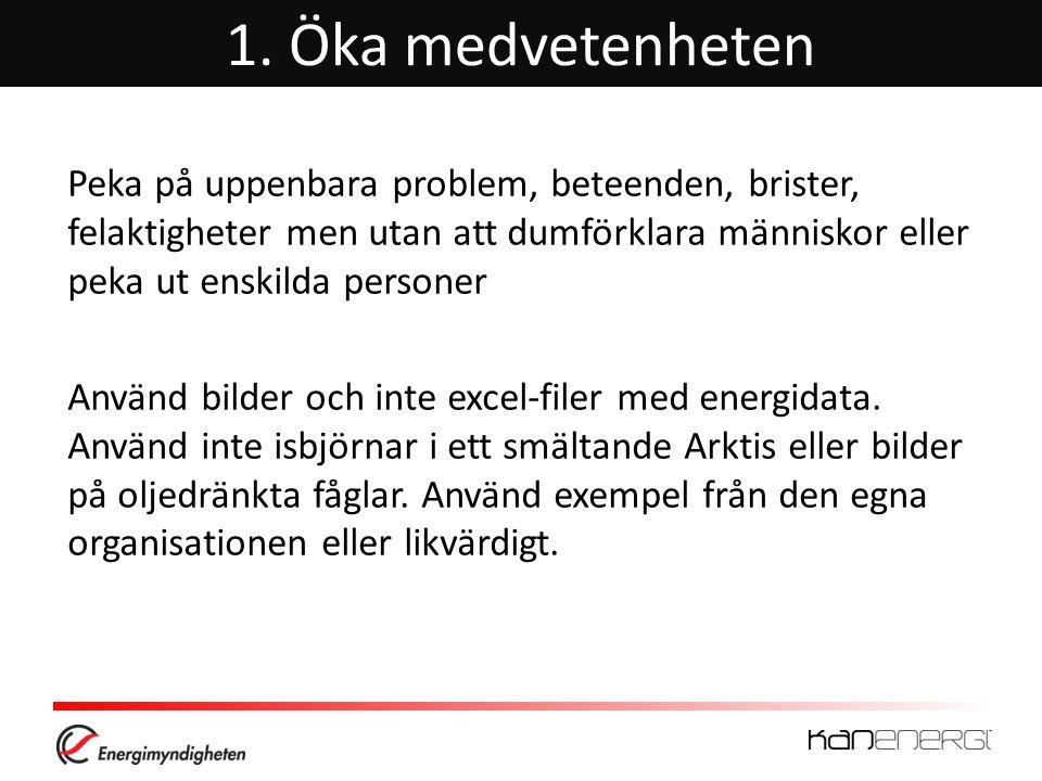 1. Öka medvetenheten Peka på uppenbara problem, beteenden, brister, felaktigheter men utan att dumförklara människor eller peka ut enskilda personer.