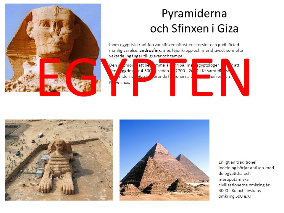 EGYPTEN Pyramiderna och Sfinxen i Giza