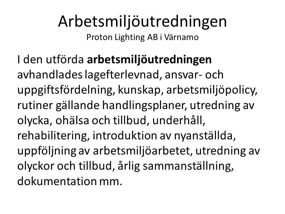 Arbetsmiljöutredningen Proton Lighting AB i Värnamo