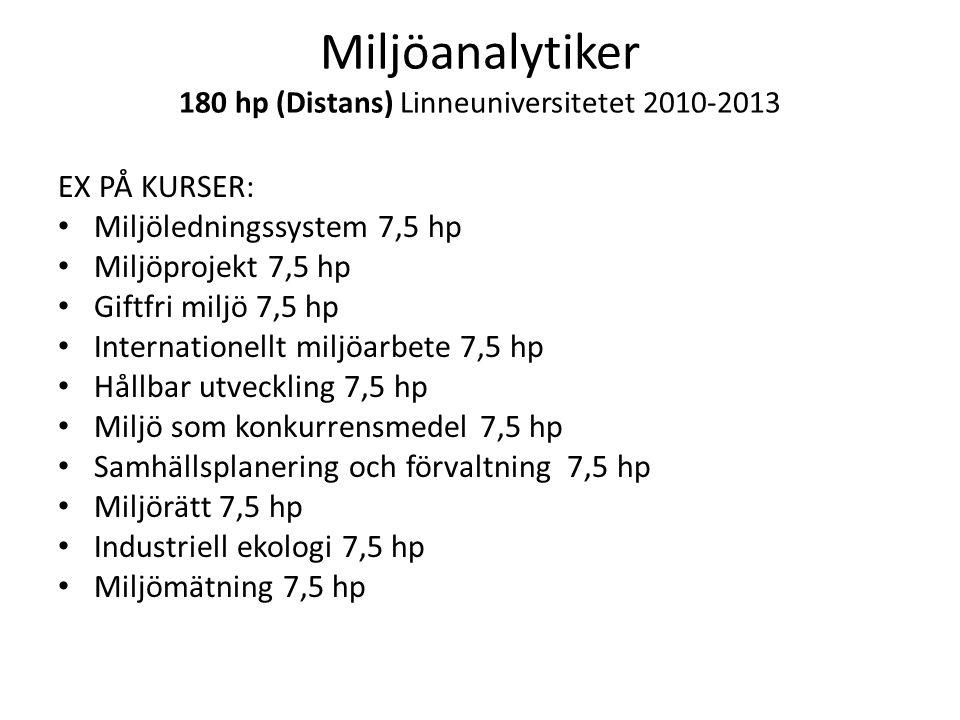 Miljöanalytiker 180 hp (Distans) Linneuniversitetet 2010-2013