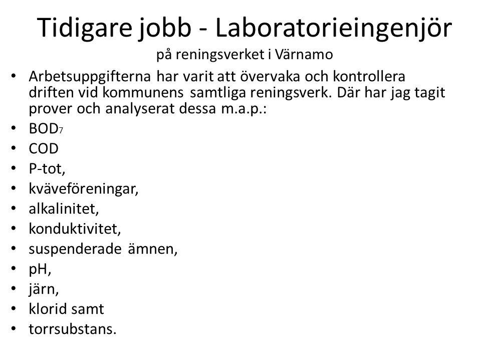 Tidigare jobb - Laboratorieingenjör på reningsverket i Värnamo