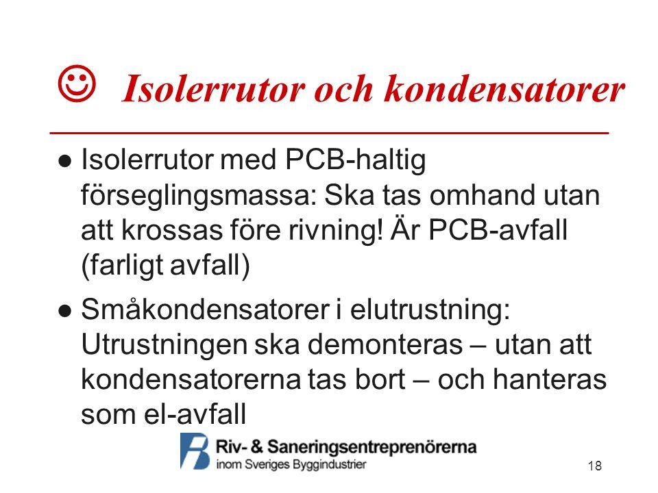  Isolerrutor och kondensatorer