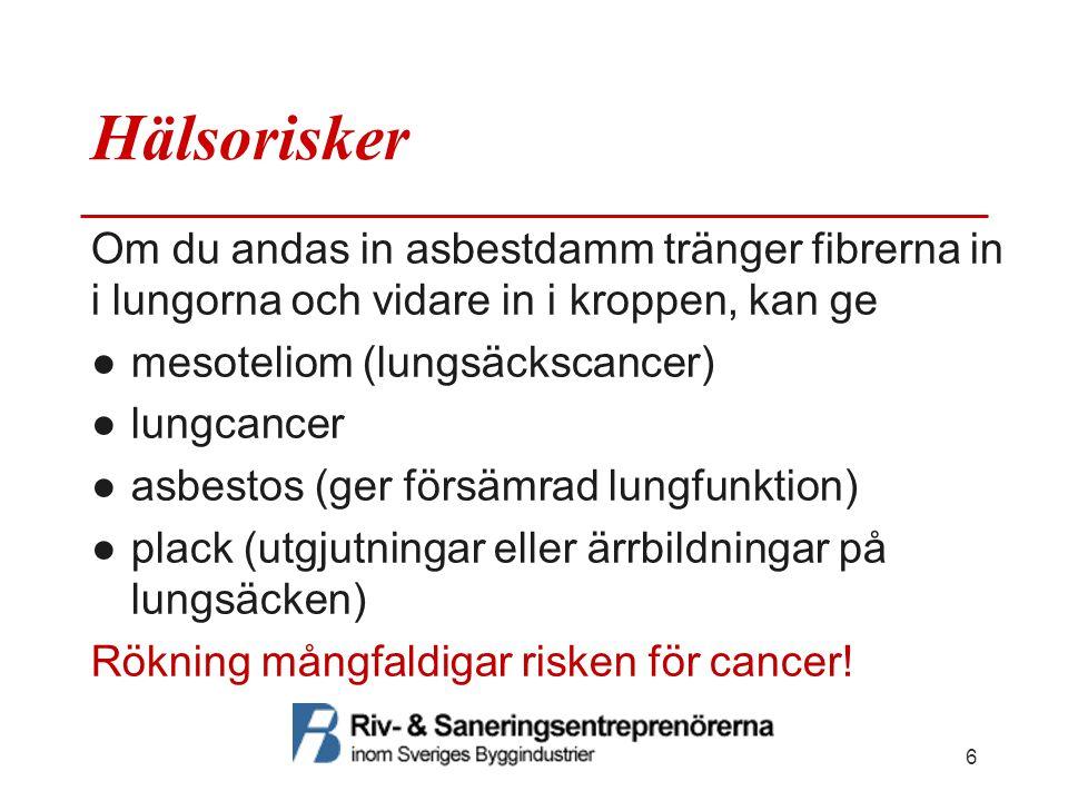 Hälsorisker Om du andas in asbestdamm tränger fibrerna in i lungorna och vidare in i kroppen, kan ge.