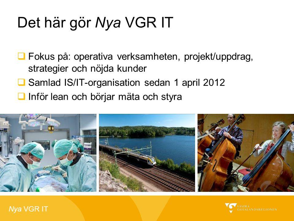 Det här gör Nya VGR IT Fokus på: operativa verksamheten, projekt/uppdrag, strategier och nöjda kunder.
