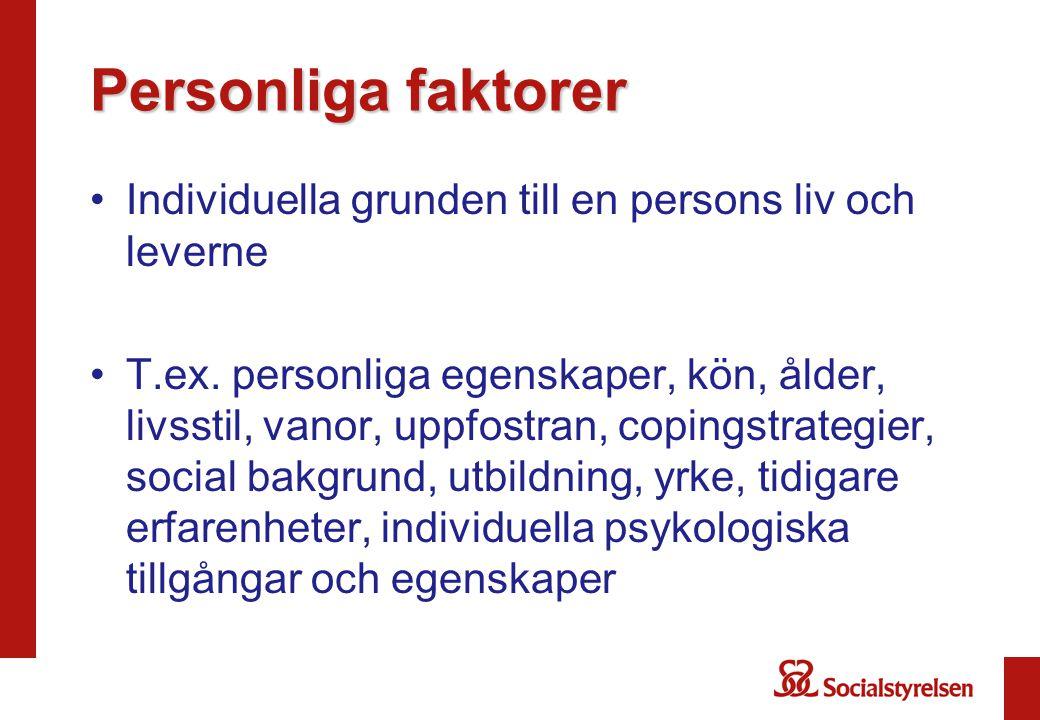Personliga faktorer Individuella grunden till en persons liv och leverne.