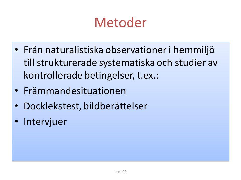 Metoder Från naturalistiska observationer i hemmiljö till strukturerade systematiska och studier av kontrollerade betingelser, t.ex.: