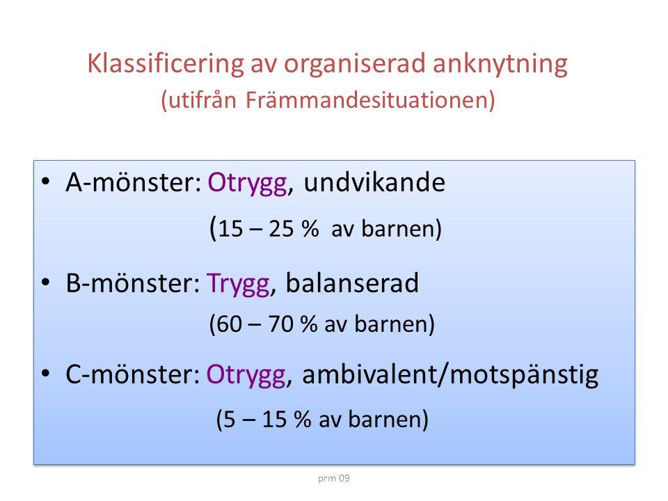 A-mönster: Otrygg, undvikande (15 – 25 % av barnen)