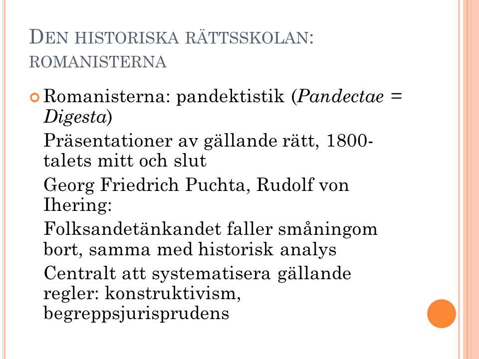 Den historiska rättsskolan: romanisterna