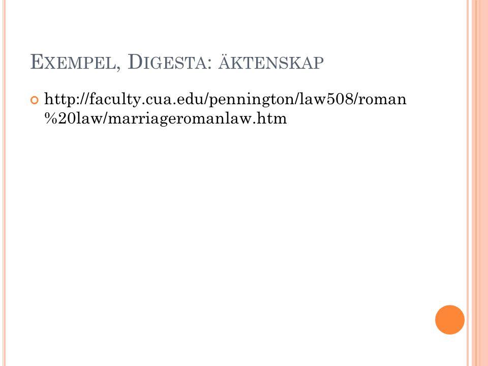 Exempel, Digesta: äktenskap