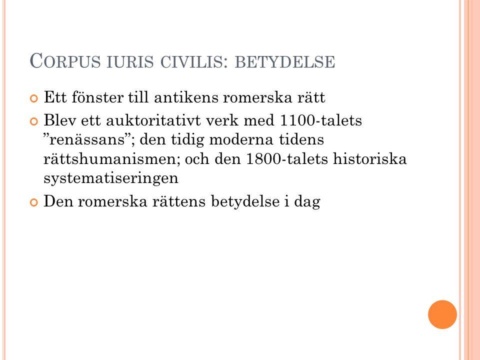Corpus iuris civilis: betydelse