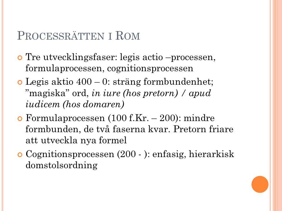 Processrätten i Rom Tre utvecklingsfaser: legis actio –processen, formulaprocessen, cognitionsprocessen.