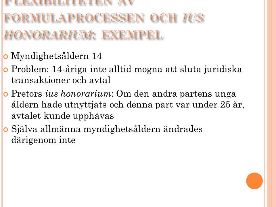 Flexibiliteten av formulaprocessen och ius honorarium: exempel