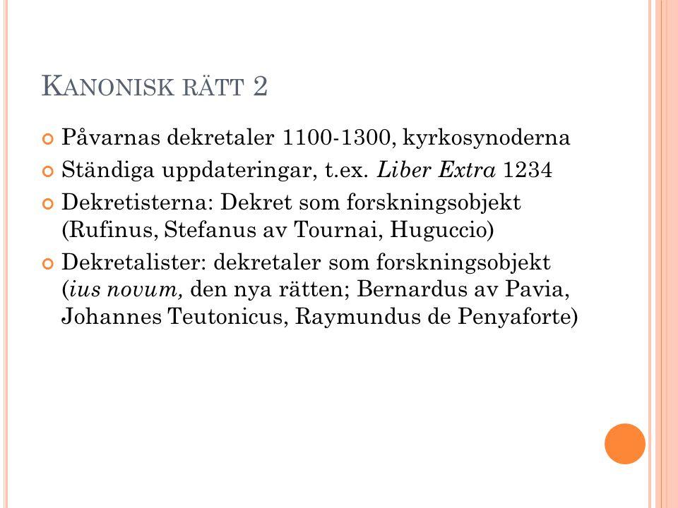 Kanonisk rätt 2 Påvarnas dekretaler 1100-1300, kyrkosynoderna