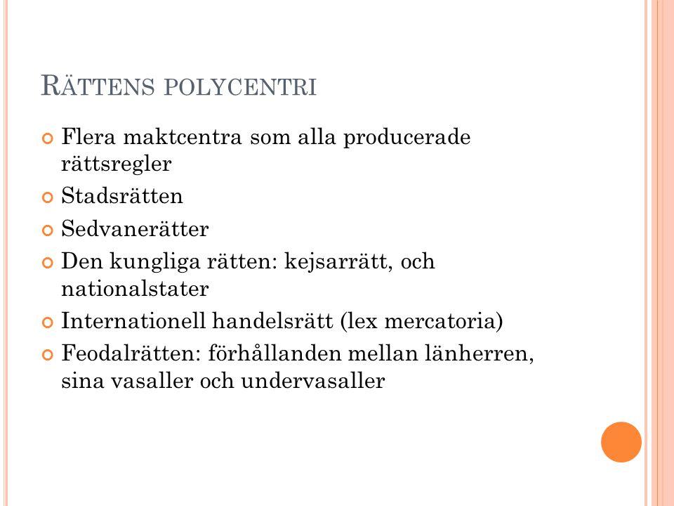Rättens polycentri Flera maktcentra som alla producerade rättsregler