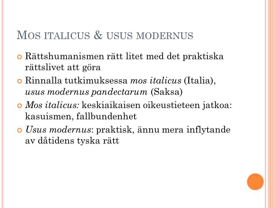 Mos italicus & usus modernus