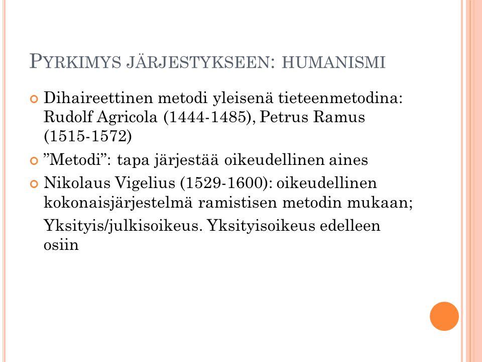 Pyrkimys järjestykseen: humanismi