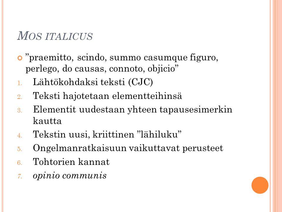 Mos italicus praemitto, scindo, summo casumque figuro, perlego, do causas, connoto, objicio Lähtökohdaksi teksti (CJC)