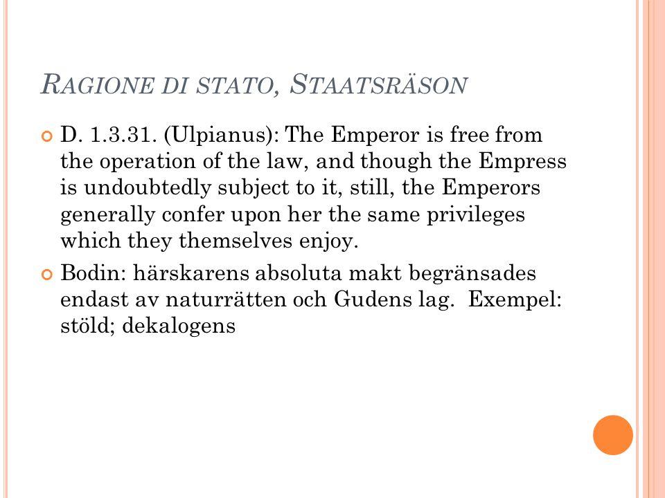 Ragione di stato, Staatsräson