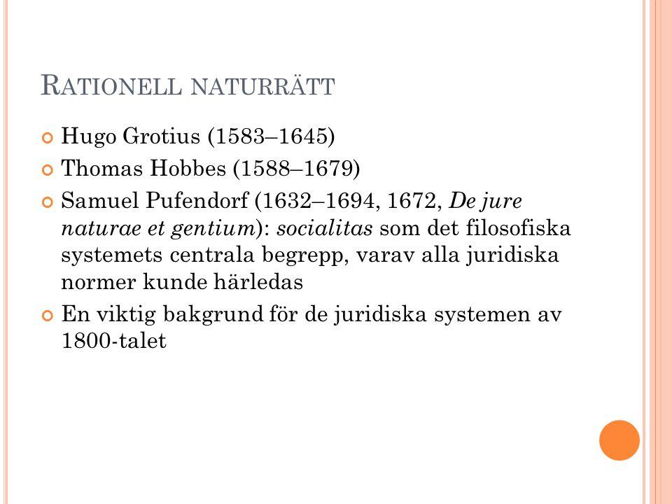Rationell naturrätt Hugo Grotius (1583–1645) Thomas Hobbes (1588–1679)