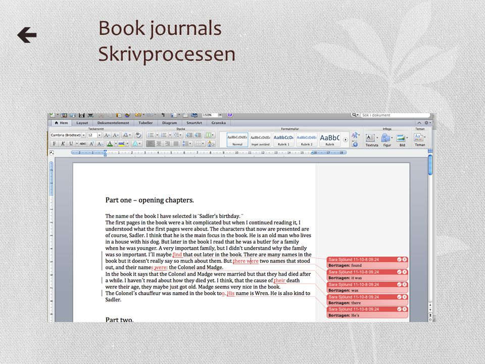 Book journals Skrivprocessen