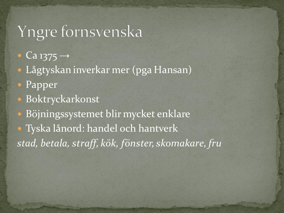 Yngre fornsvenska Ca 1375 → Lågtyskan inverkar mer (pga Hansan) Papper