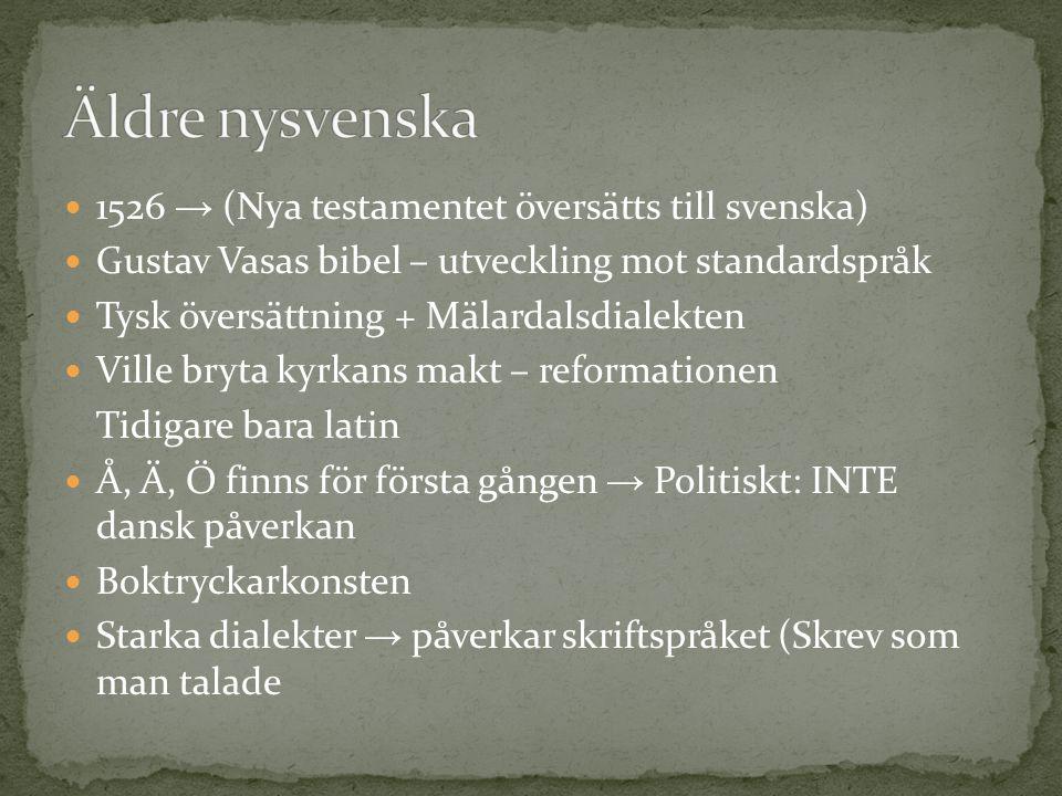 Äldre nysvenska 1526 → (Nya testamentet översätts till svenska)