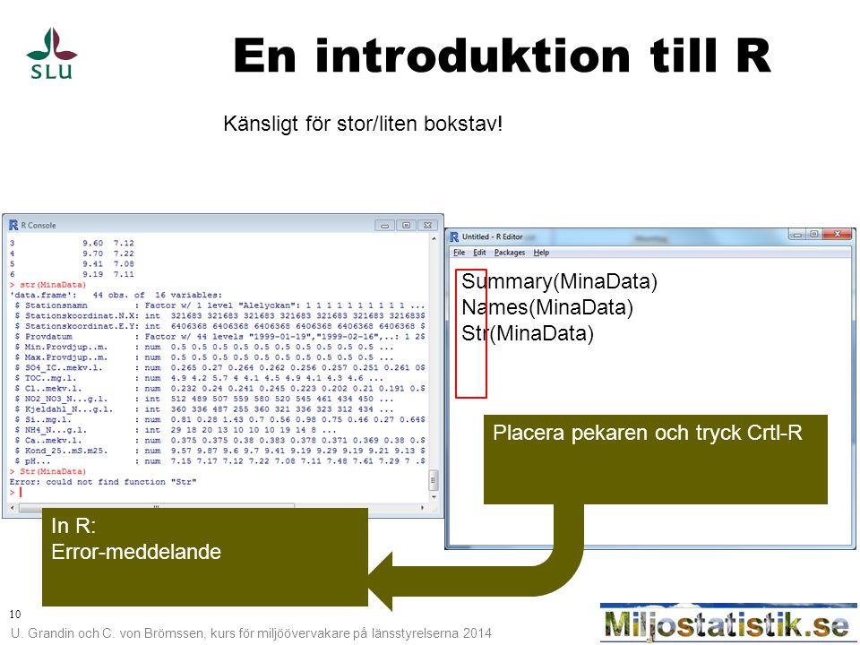 En introduktion till R Känsligt för stor/liten bokstav!
