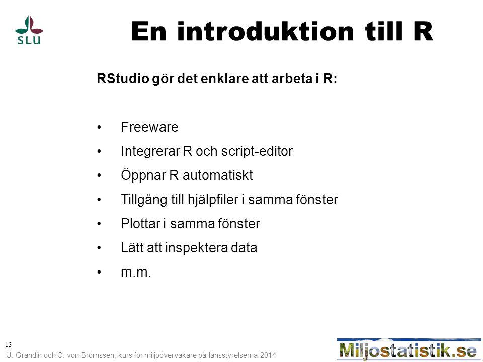 En introduktion till R RStudio gör det enklare att arbeta i R: