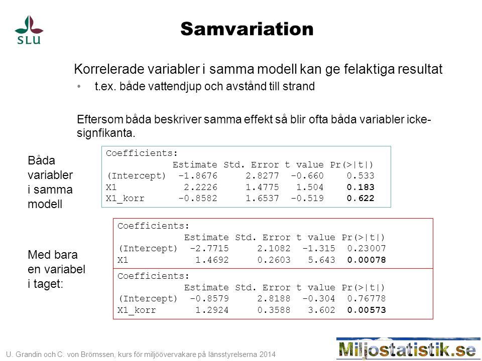 Samvariation Korrelerade variabler i samma modell kan ge felaktiga resultat. t.ex. både vattendjup och avstånd till strand.