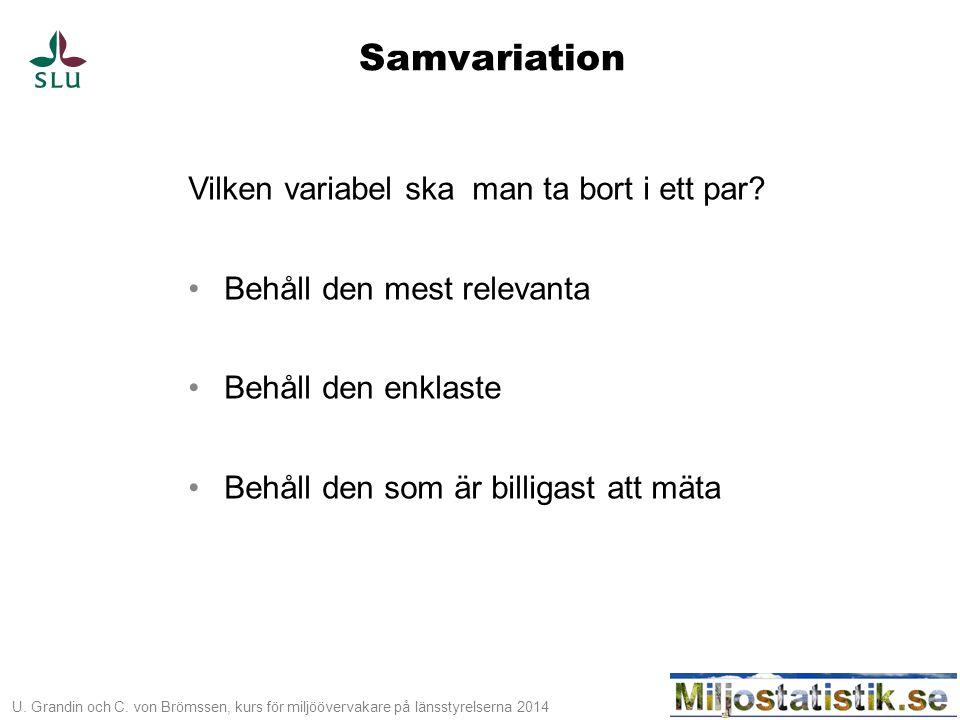Samvariation Vilken variabel ska man ta bort i ett par