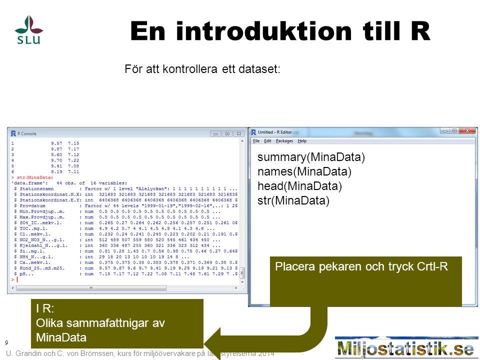 En introduktion till R För att kontrollera ett dataset: