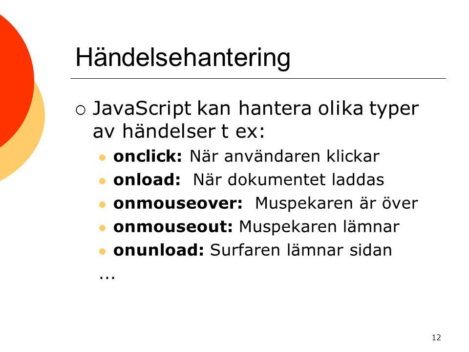 Händelsehantering JavaScript kan hantera olika typer av händelser t ex: onclick: När användaren klickar